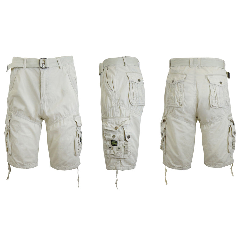 Men's Distressed Vintage Belted Cargo Utility Shorts Men's Clothing Stone 30 - DailySale