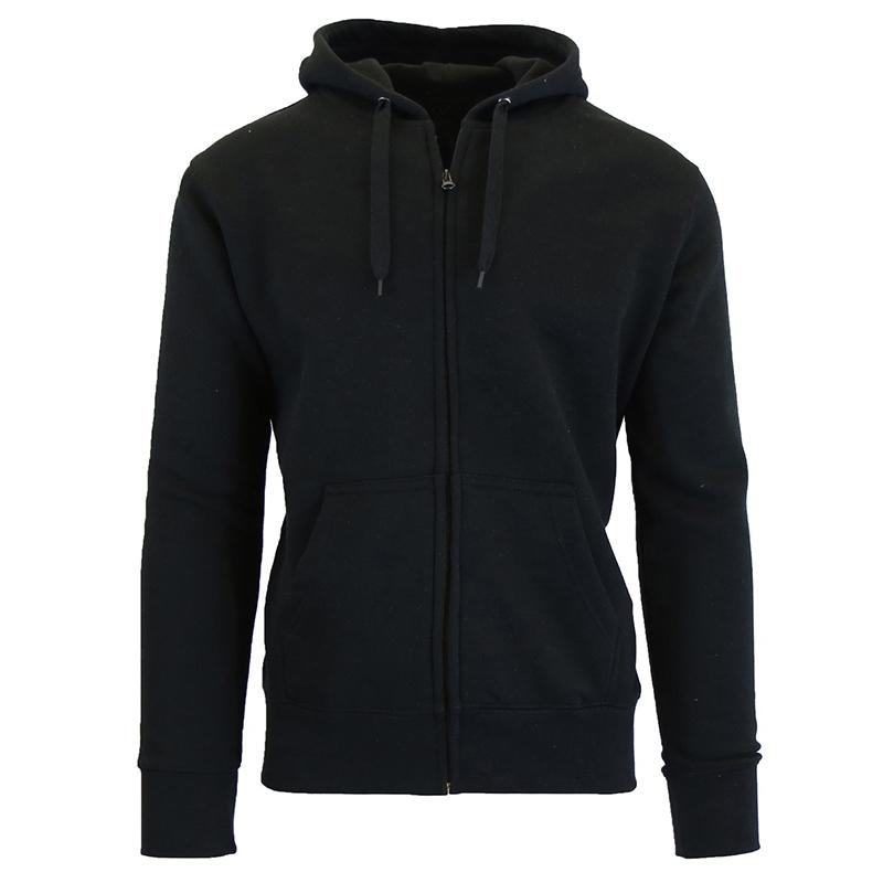 Men's Fleece-Lined Zip Sweater Hoodie Men's Apparel S Black - DailySale
