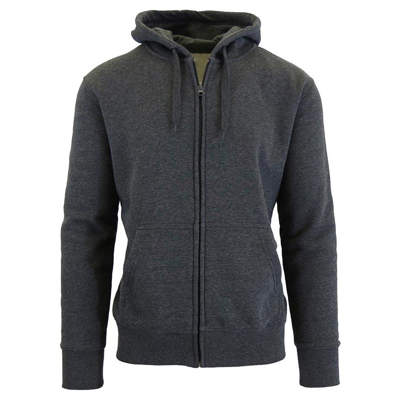 Men's Fleece-Lined Zip Sweater Hoodie Men's Apparel S Charcoal - DailySale