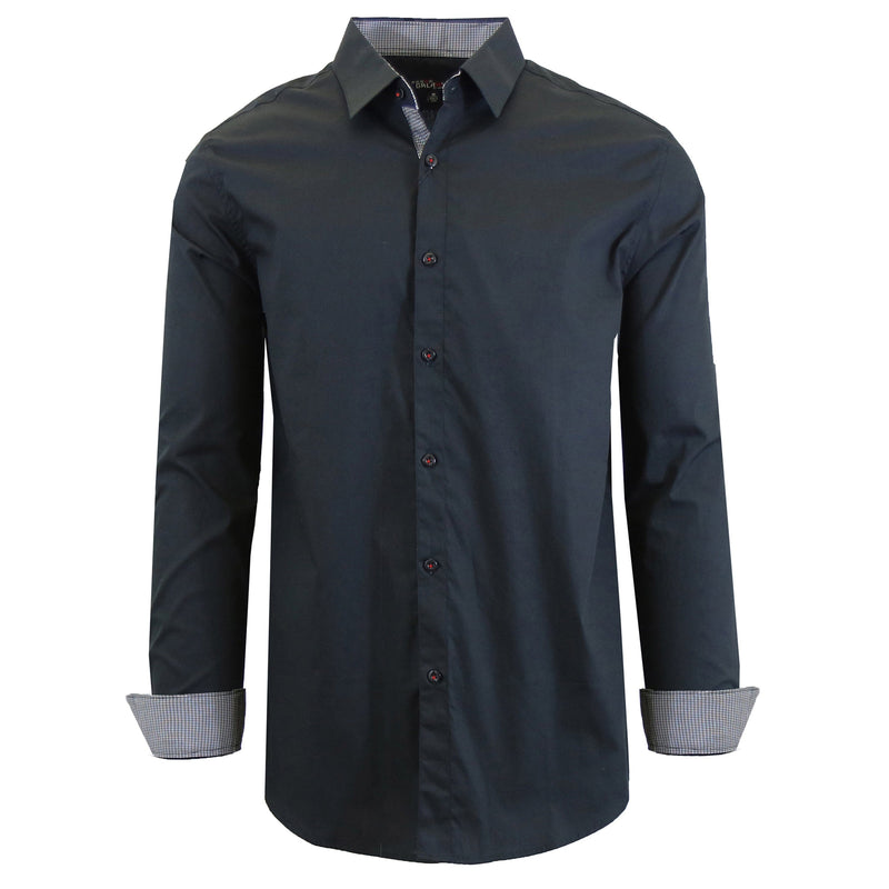 Mens Long Sleeve Dress Shirt Men's Apparel Small Black - DailySale