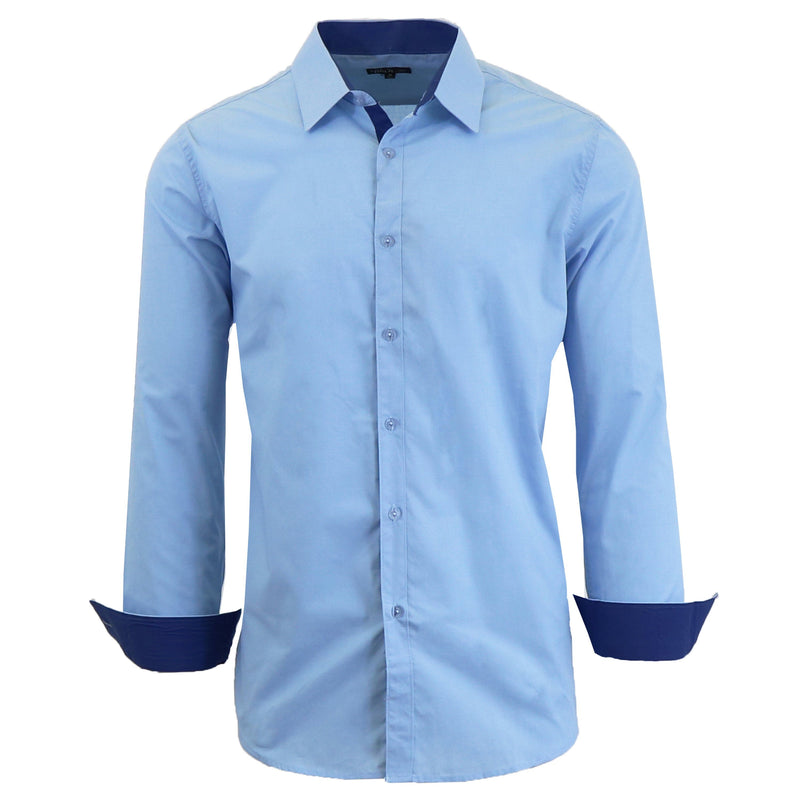 Mens Long Sleeve Dress Shirt Men's Apparel Small Light Blue - DailySale