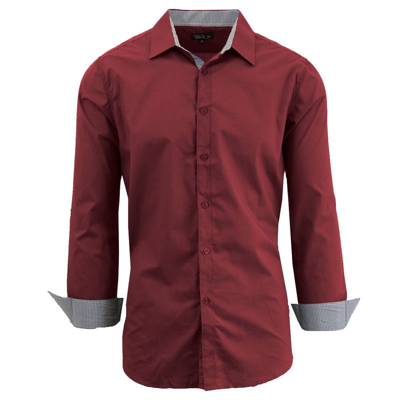 Mens Long Sleeve Dress Shirt Men's Apparel Small Maroon - DailySale