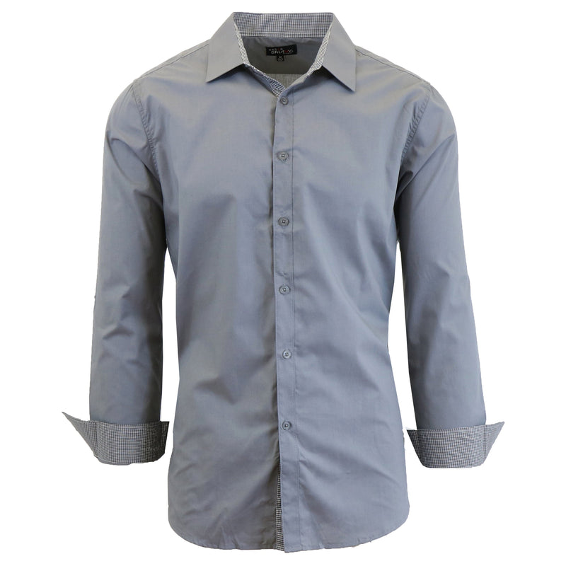 Mens Long Sleeve Dress Shirt Men's Apparel Small Medium Gray - DailySale