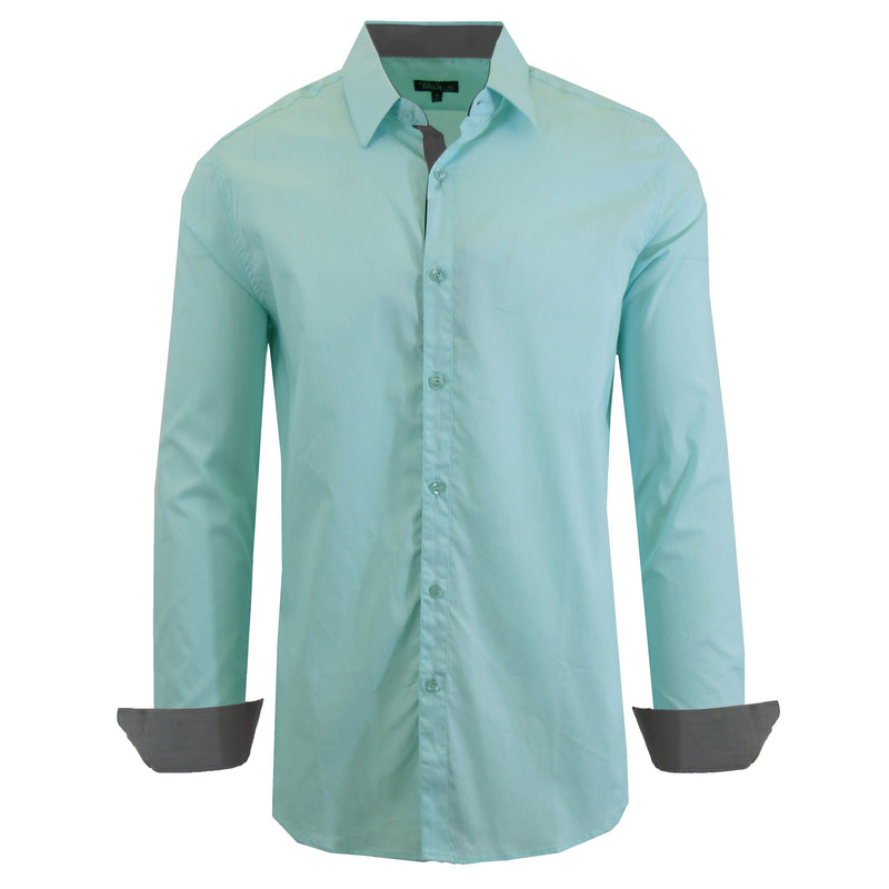 Mens Long Sleeve Dress Shirt Men's Apparel Small Mint - DailySale