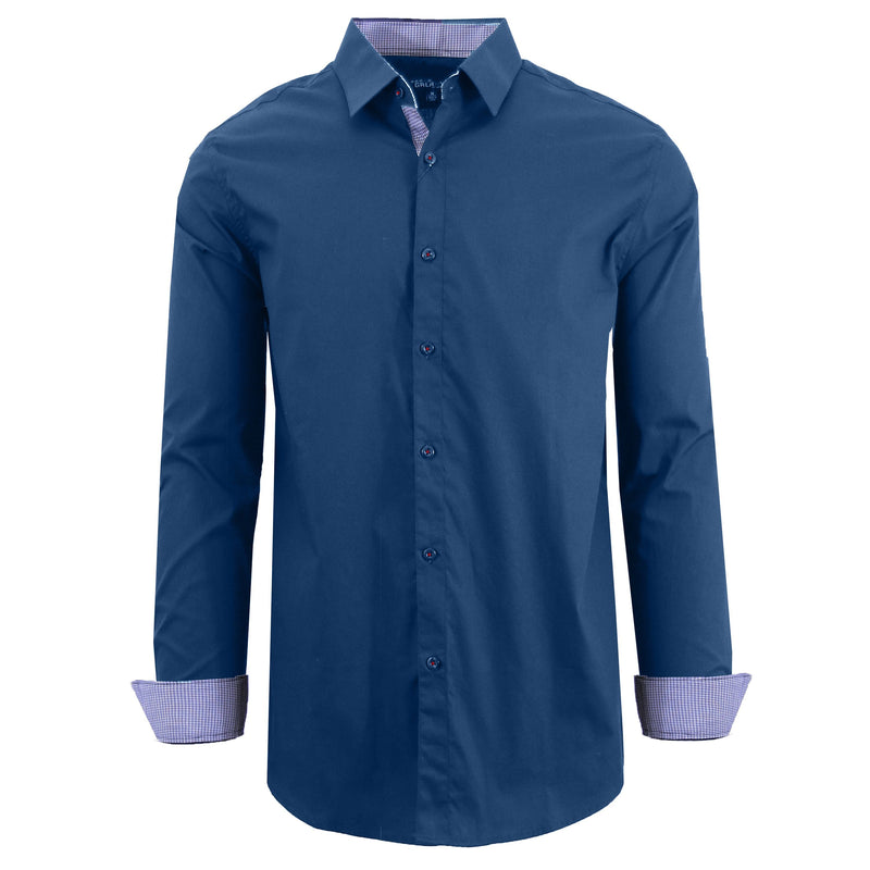Mens Long Sleeve Dress Shirt Men's Apparel Small Navy - DailySale
