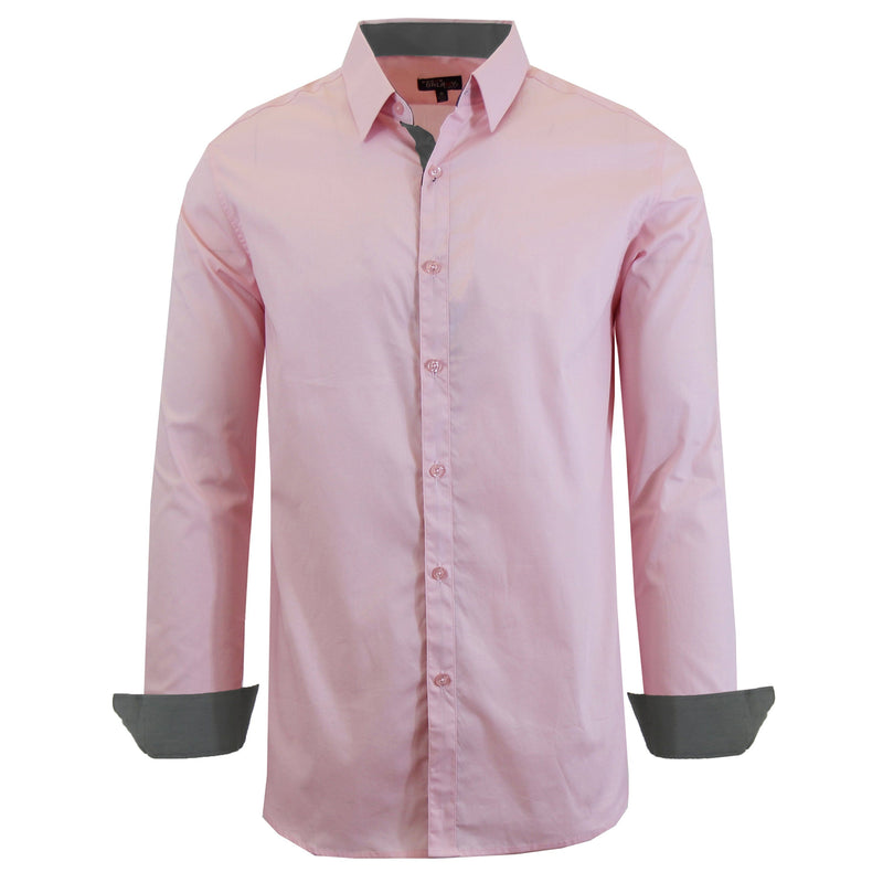 Mens Long Sleeve Dress Shirt Men's Apparel Small Pink - DailySale