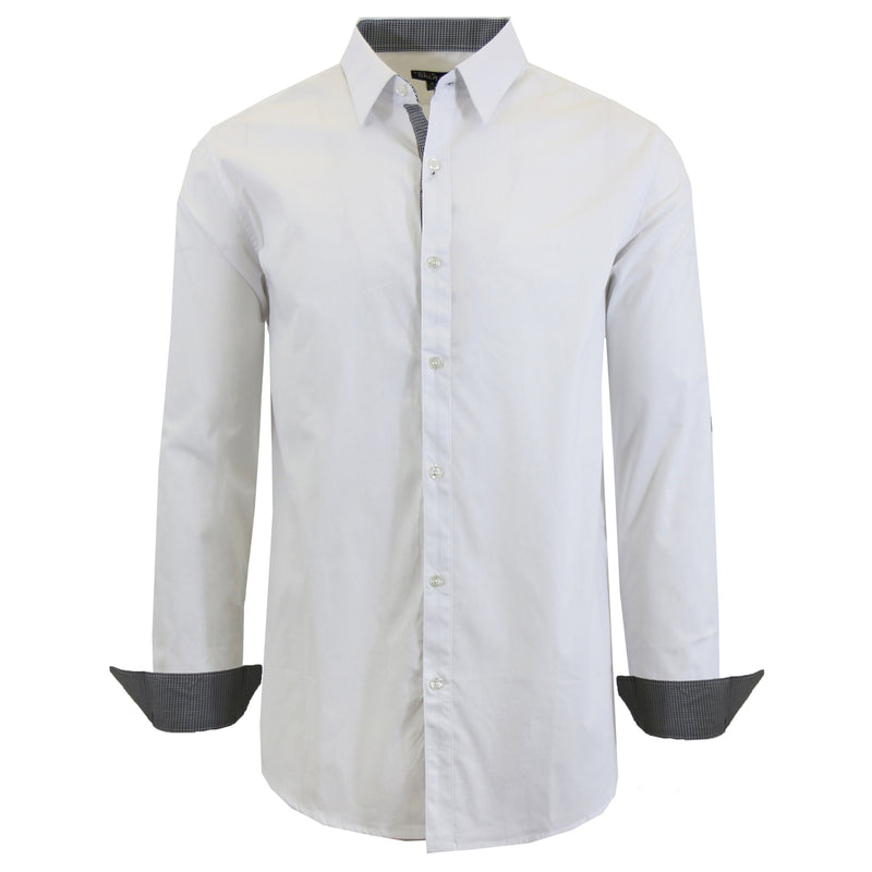 Mens Long Sleeve Dress Shirt Men's Apparel Small White - DailySale