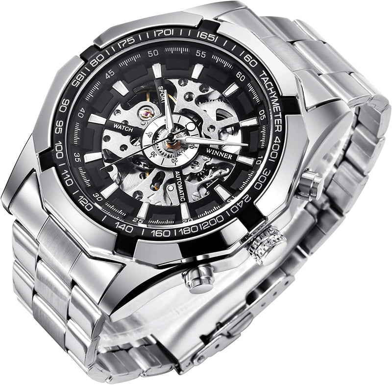 Mens Mechanical Skeleton Automatic Dial Wristwatch