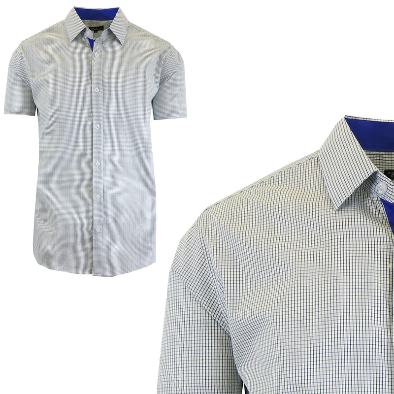 Men's Short Sleeve Slim-Fit Casual Dress Shirts Men's Apparel M Green/Royal - DailySale