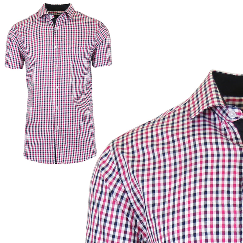 Men's Short Sleeve Slim-Fit Casual Dress Shirts Men's Apparel M Pink/Black - DailySale