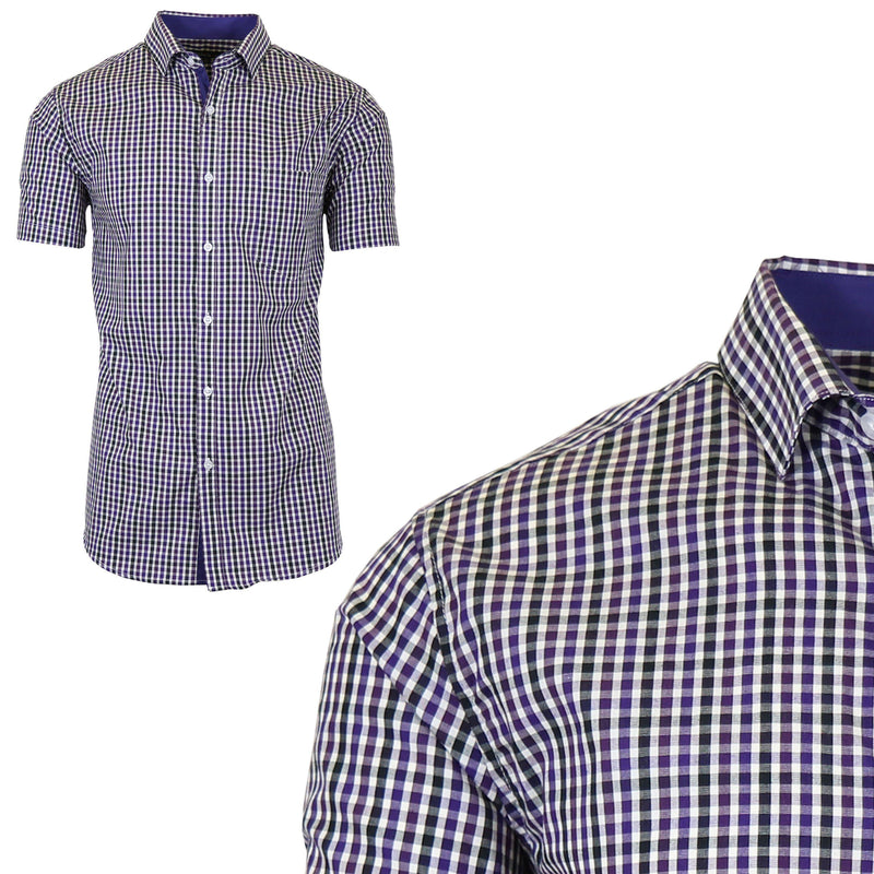 Men's Short Sleeve Slim-Fit Casual Dress Shirts Men's Apparel M Purple/Black - DailySale