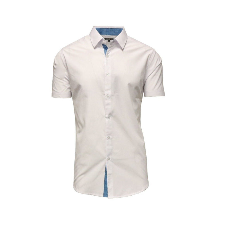 Men's Short-Sleeve Slim-Fit Shirt with Contrast Trim - Assorted Colors and Sizes Men's Apparel XL White - DailySale