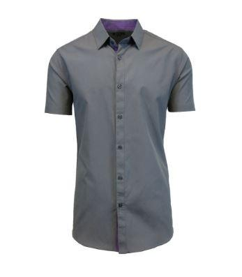 Men's Short-Sleeve Slim-Fit Shirt with Contrast Trim - Assorted Colors and Sizes Men's Apparel XXL Gray - DailySale