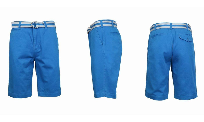 Men's Slim Fit Flat Front Belted Shorts - Assorted Colors and Sizes Men's Apparel 36 Royal Blue - DailySale
