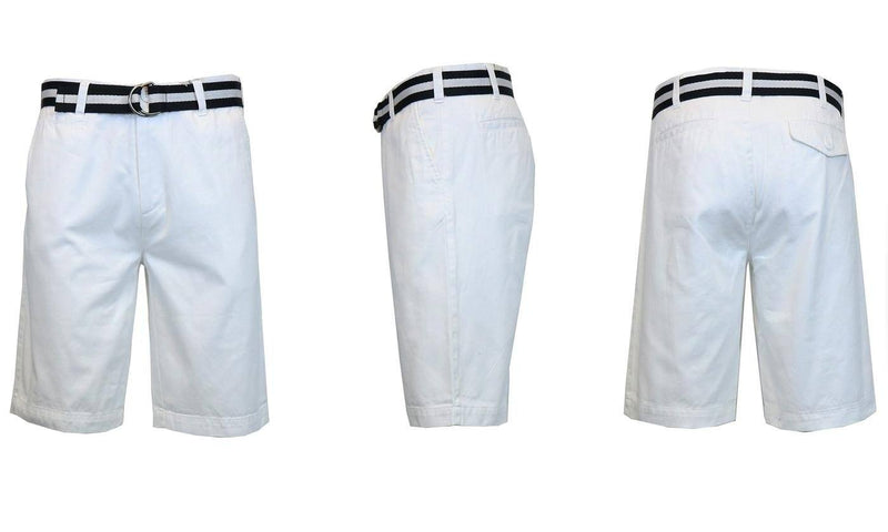 Men's Slim Fit Flat Front Belted Shorts - Assorted Colors and Sizes Men's Apparel 38 White - DailySale