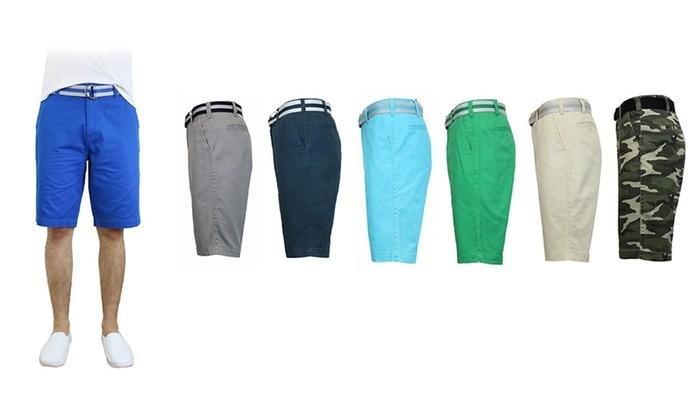Men's Slim Fit Flat Front Belted Shorts - Assorted Colors and Sizes Men's Apparel - DailySale