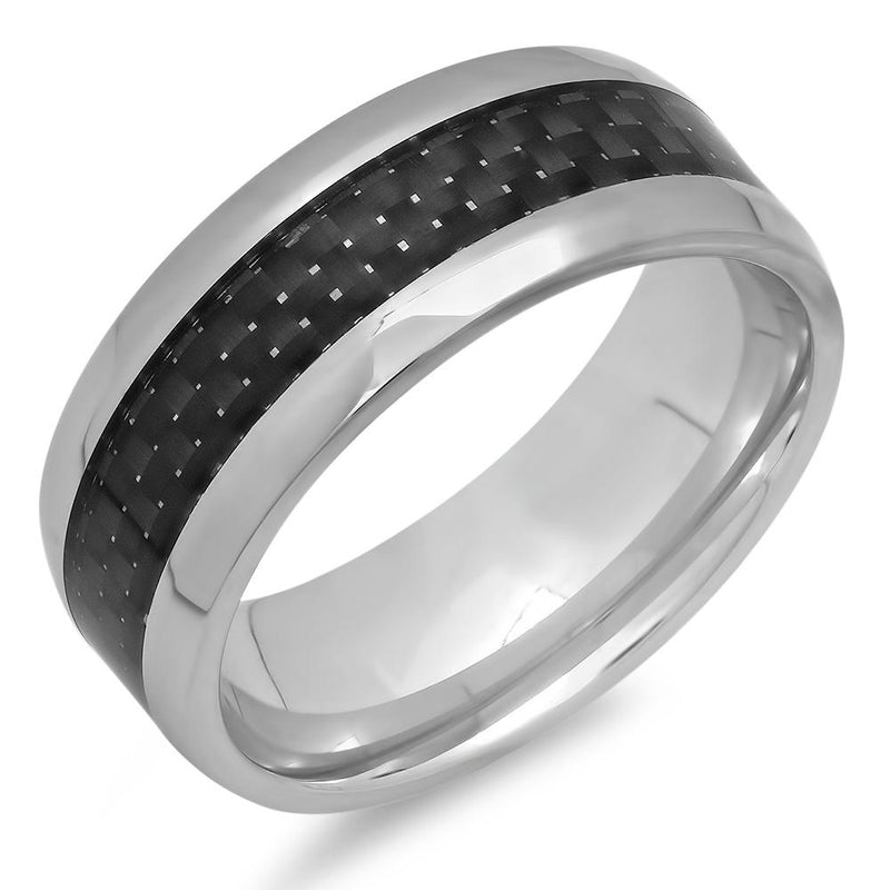 Men's Stainless Steel and Black Carbon Fiber Ring Jewelry - DailySale