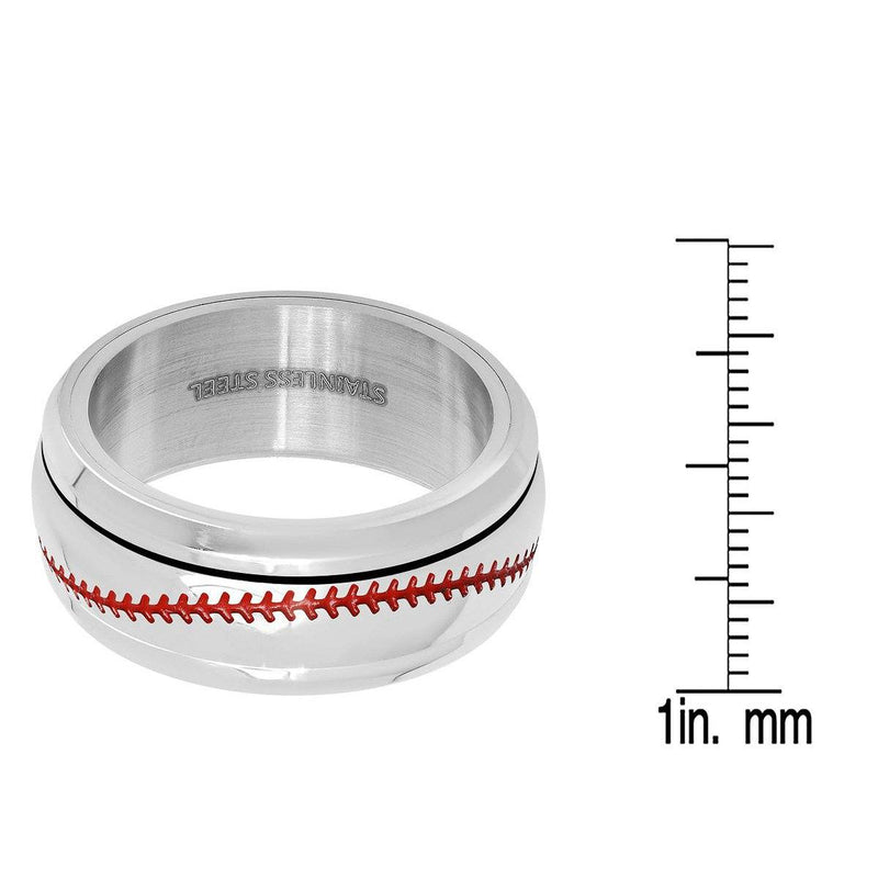 Men's Stainless Steel and Red Enamel Acceted Ring Rings - DailySale