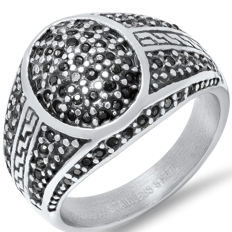 Men's Stainless Steel Black IP and Gray CZ Ring Rings 8 - DailySale