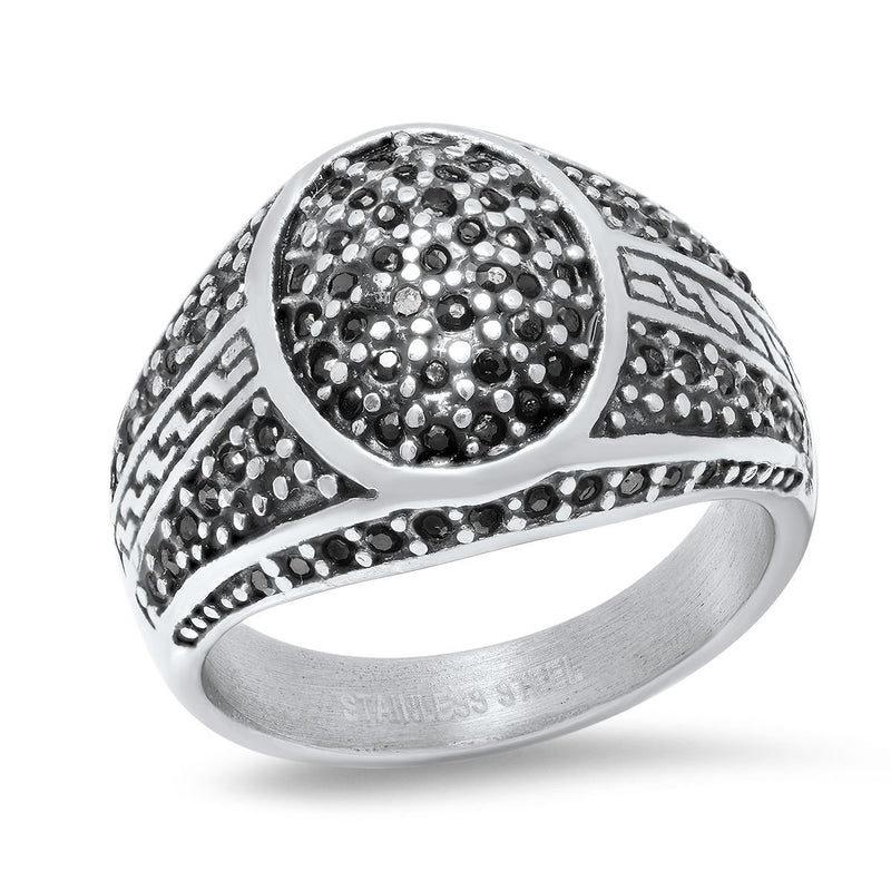 Men's Stainless Steel Black IP and Gray CZ Ring Rings - DailySale
