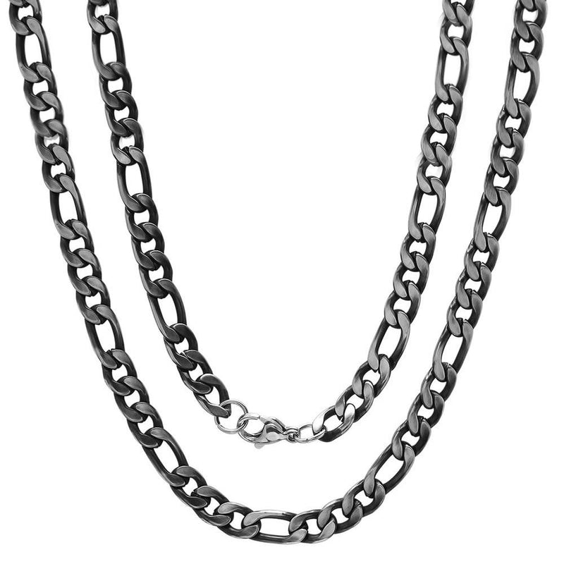 Men's Stainless Steel Diamond Cut Figaro Necklace by Steeltime Jewelry Oxidizes - DailySale