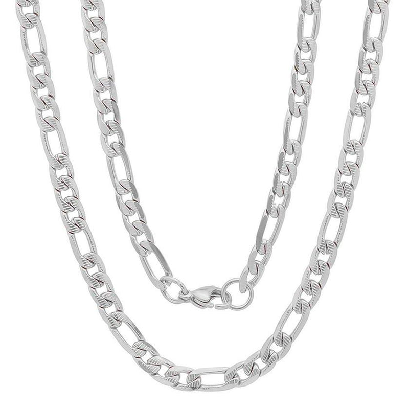 Men's Stainless Steel Diamond Cut Figaro Necklace by Steeltime Jewelry Silver - DailySale