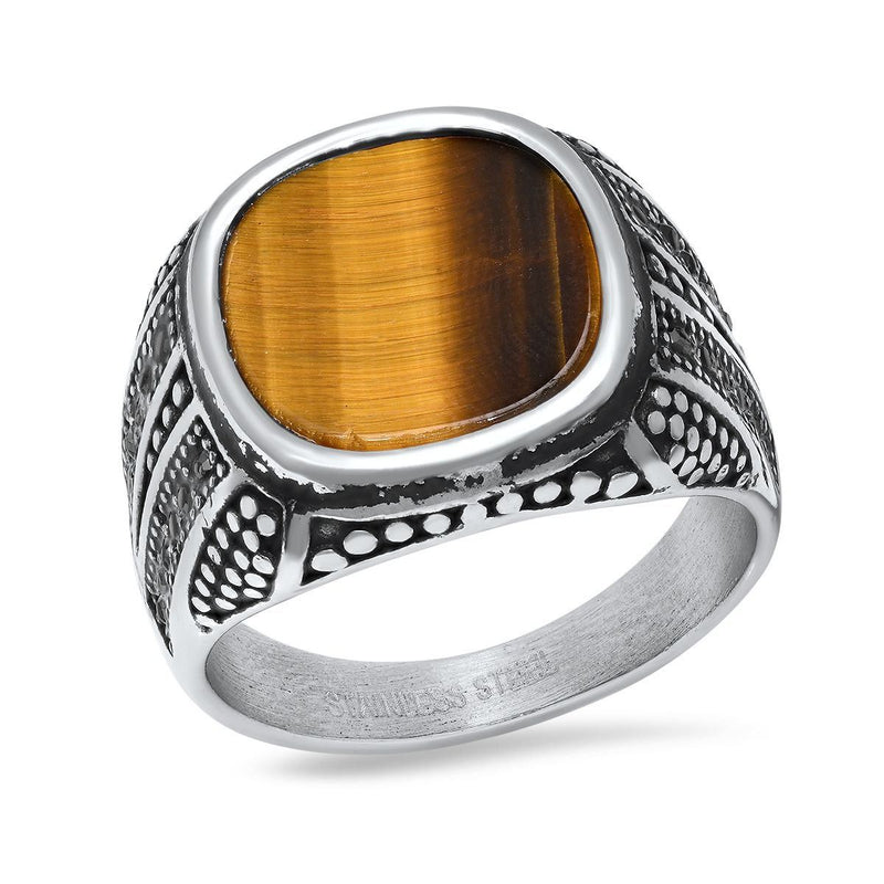 Men's Stainless Steel Tiger Eye and Gray CZ Ring Rings 9 - DailySale