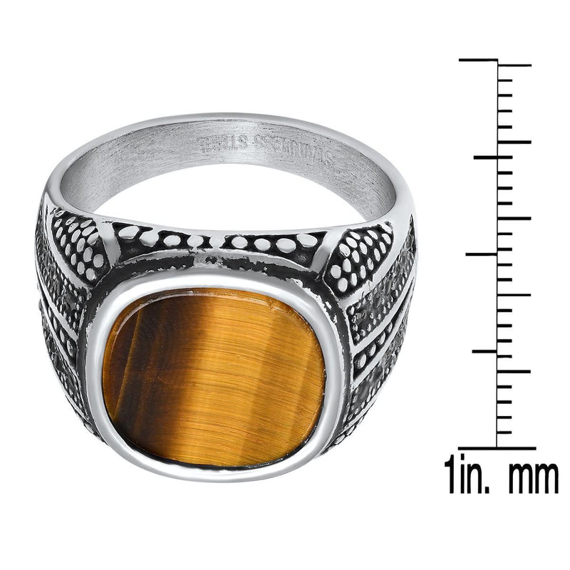 Men's Stainless Steel Tiger Eye and Gray CZ Ring Rings - DailySale
