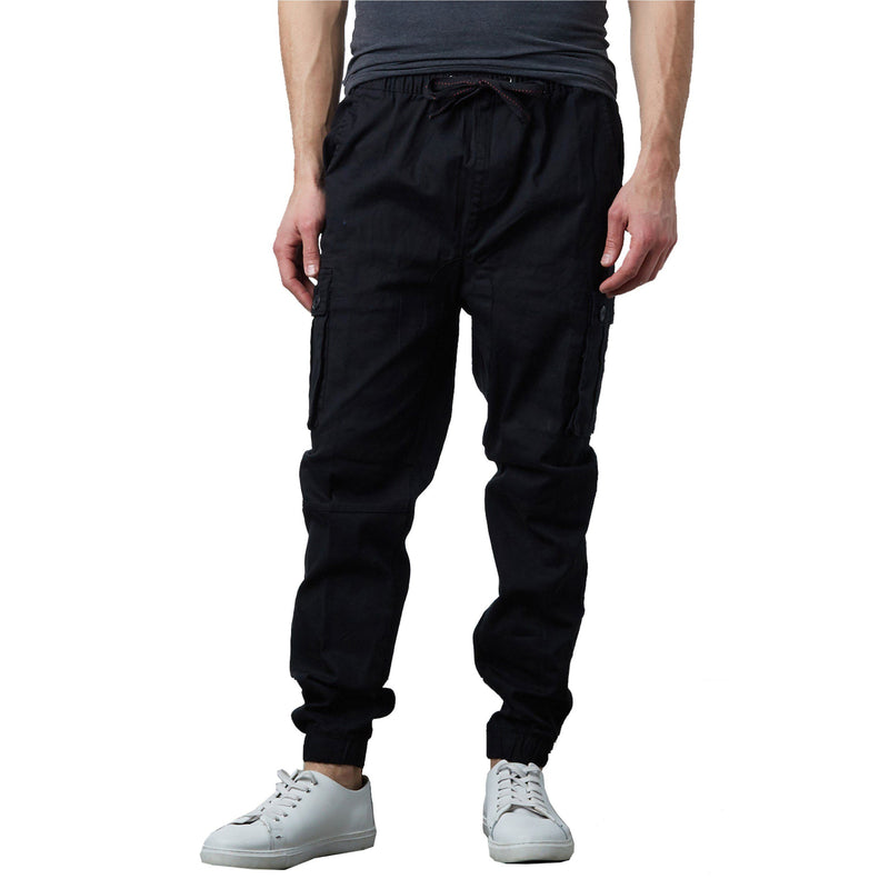 Men's Stretch Cargo Jogger Pants Men's Clothing Black S - DailySale