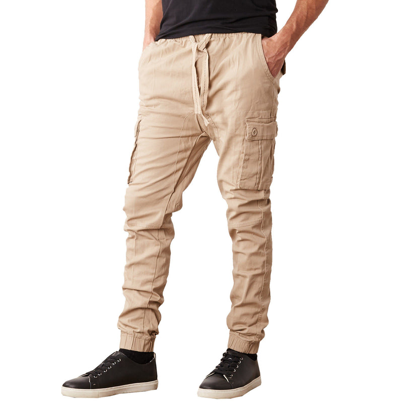 Men's Stretch Cargo Jogger Pants Men's Clothing Khaki S - DailySale