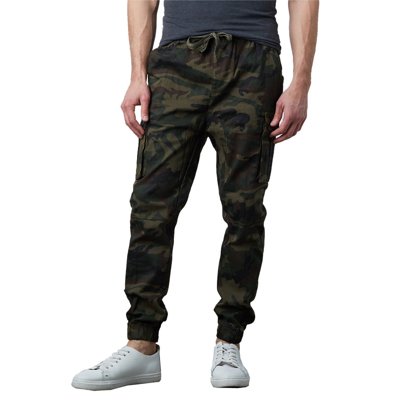 Men's Stretch Cargo Jogger Pants Men's Clothing Woodland Camo S - DailySale