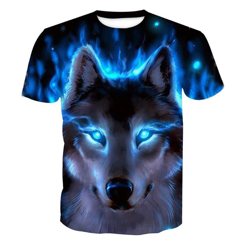 Men's T-Shirt Graphic Animal Plus Size Print Short Sleeve Halloween Tops Men's Clothing Blue S - DailySale