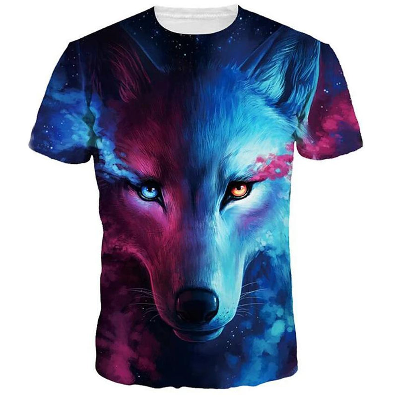 Men's T-Shirt Graphic Animal Plus Size Print Short Sleeve Halloween Tops Men's Clothing Light Blue S - DailySale