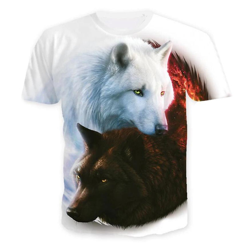 Men's T-Shirt Graphic Animal Plus Size Print Short Sleeve Halloween Tops Men's Clothing White S - DailySale