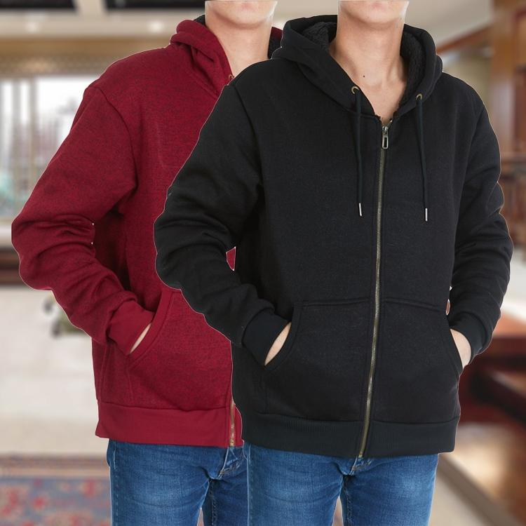 Men's Thick Sherpa Lined Full Zip Hoodie Jackets Men's Apparel - DailySale