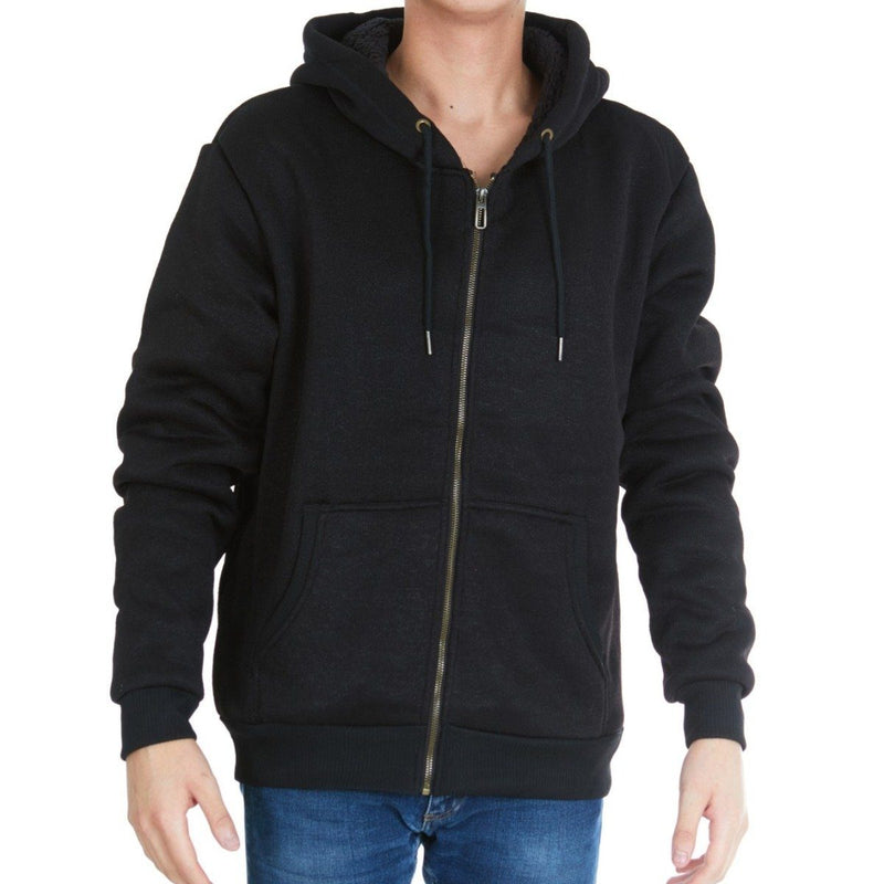 Men's Thick Sherpa Lined Full Zip Hoodie Jackets Men's Apparel M Black - DailySale