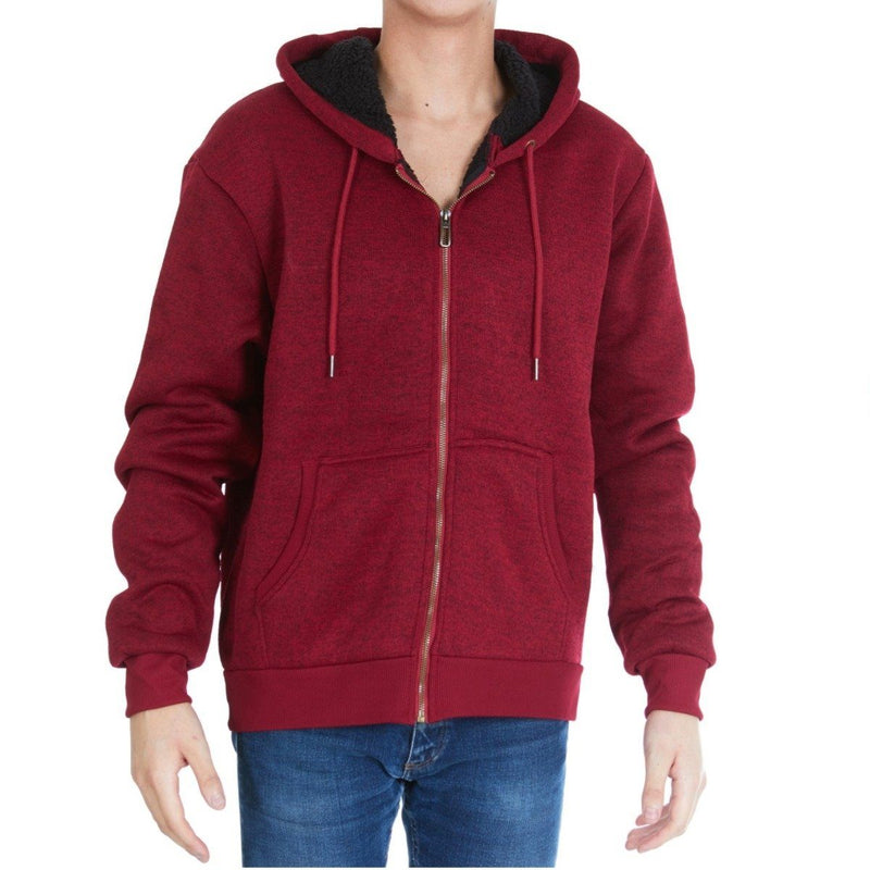 Men's Thick Sherpa Lined Full Zip Hoodie Jackets Men's Apparel M Burgundy - DailySale