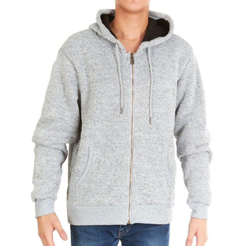 Men's Thick Sherpa Lined Full Zip Hoodie Jackets Men's Apparel M Gray - DailySale
