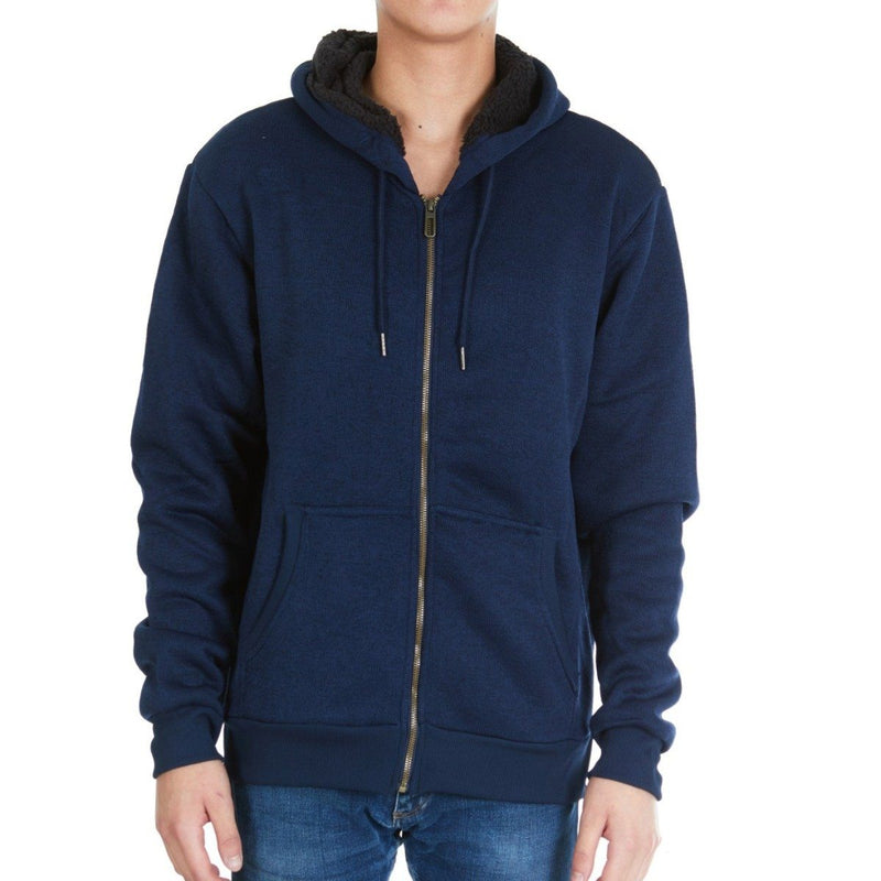Men's Thick Sherpa Lined Full Zip Hoodie Jackets Men's Apparel M Navy - DailySale