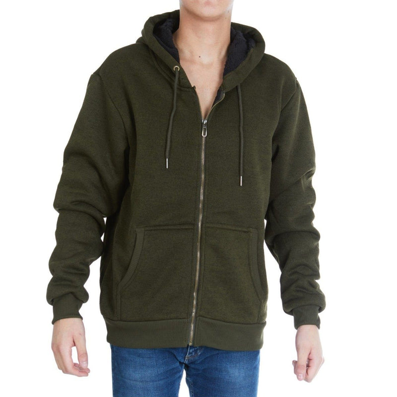 Men's Thick Sherpa Lined Full Zip Hoodie Jackets Men's Apparel M Olive - DailySale