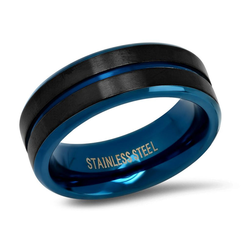 Men's Two Tone Black and Blue IP Stainless Steel Band Ring Rings 9 - DailySale