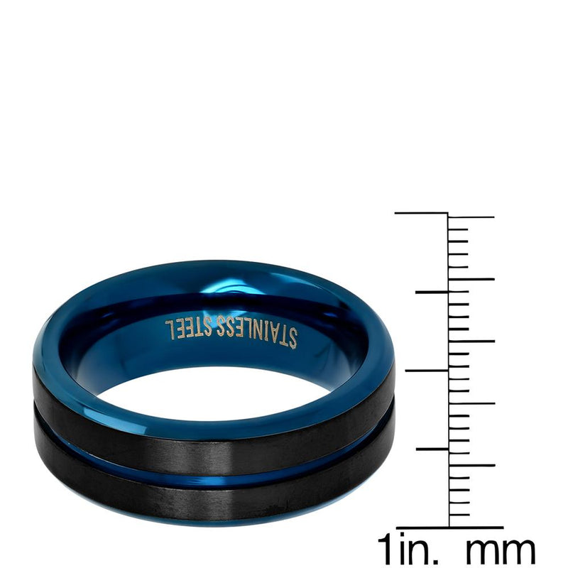 Men's Two Tone Black and Blue IP Stainless Steel Band Ring Rings - DailySale