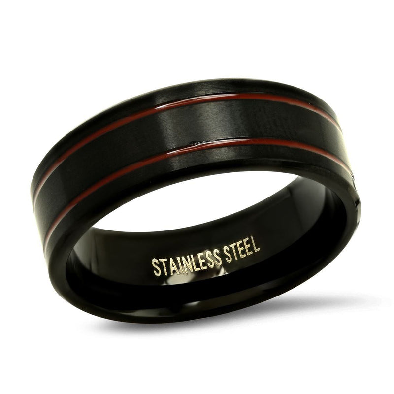 Men's Two-Tone Black and Red IP Stainless Steel Ring Rings 9 - DailySale