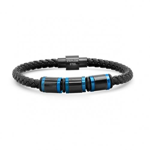 Men's Two Tone IP Stainless Steel Leather Bracelet Men's Apparel - DailySale