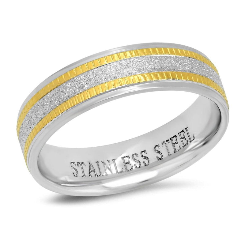 Men's Two Tone Stainless Steel and 18K Gold Plated Sandblasted Inlay Ring Men's Accessories 9 - DailySale