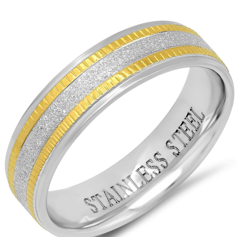 Men's Two Tone Stainless Steel and 18K Gold Plated Sandblasted Inlay Ring Men's Accessories - DailySale