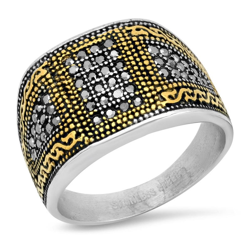 Men's Two Tone Stainless Steel And 18k Gold With Simulated Diamonds Ring Rings 9 - DailySale