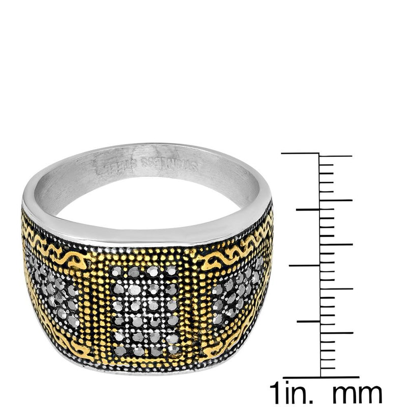 Men's Two Tone Stainless Steel And 18k Gold With Simulated Diamonds Ring Rings - DailySale