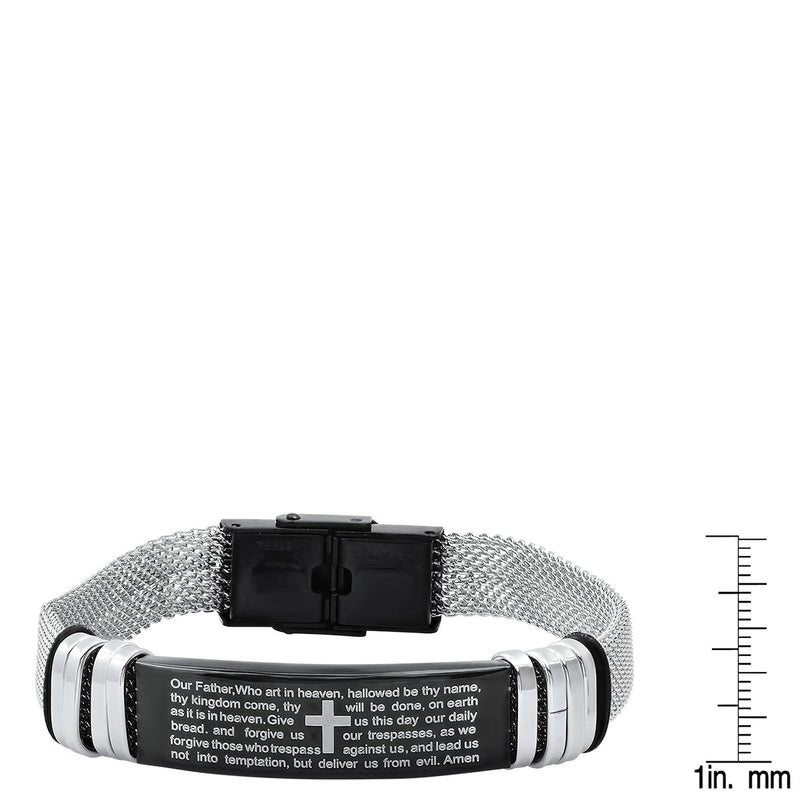 Men's Two Tone Stainless Steel and Black IP Our Father Prayer Mesh Bracelet Men's Accessories - DailySale