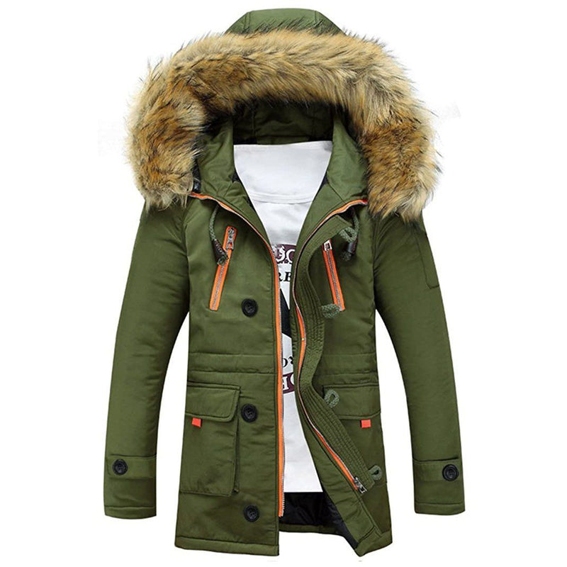 Men's Winter Hooded Down Coat Parkas Men's Clothing Army Green S - DailySale